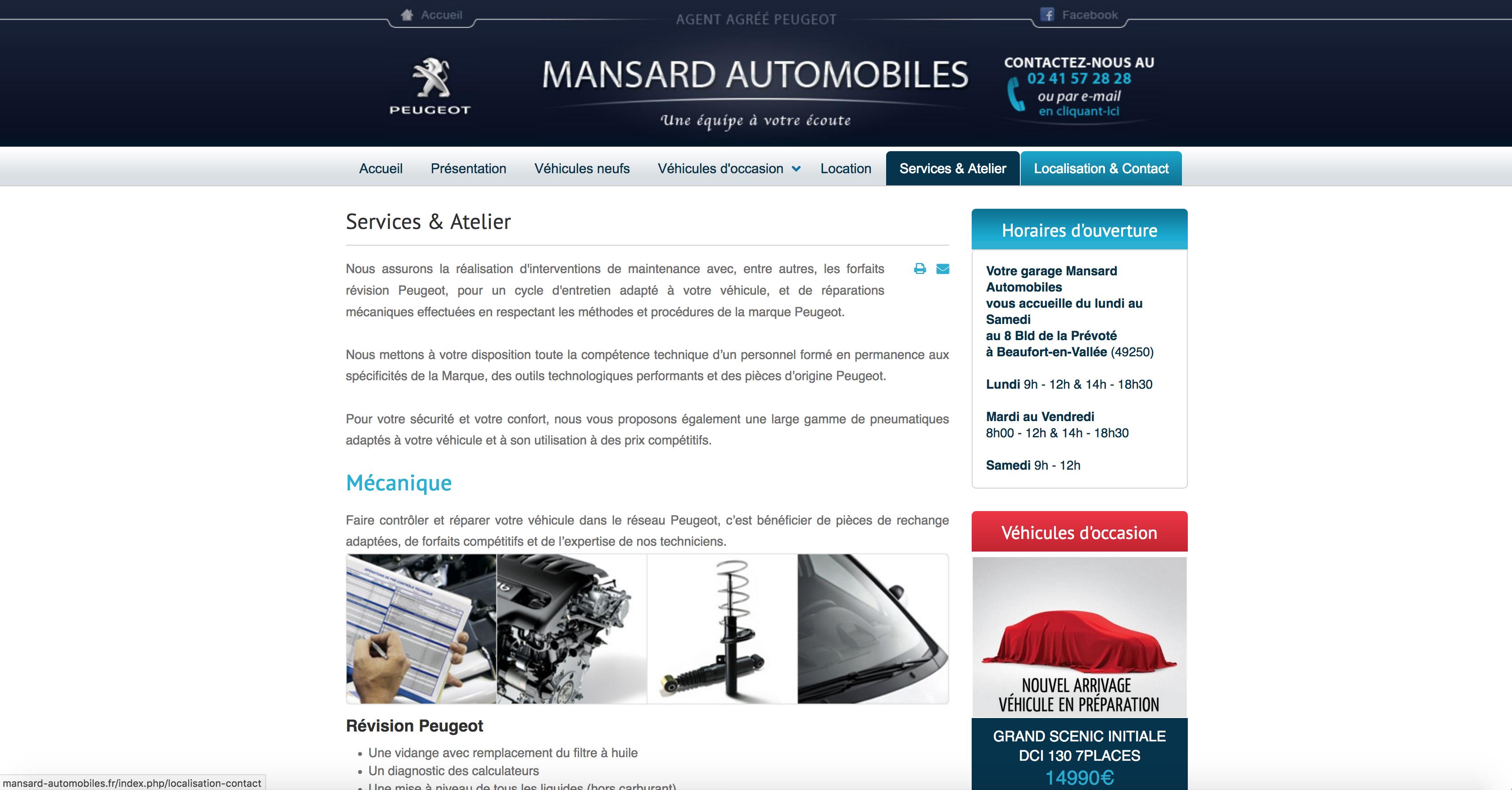 Page services peugeot Mansard Automobiles