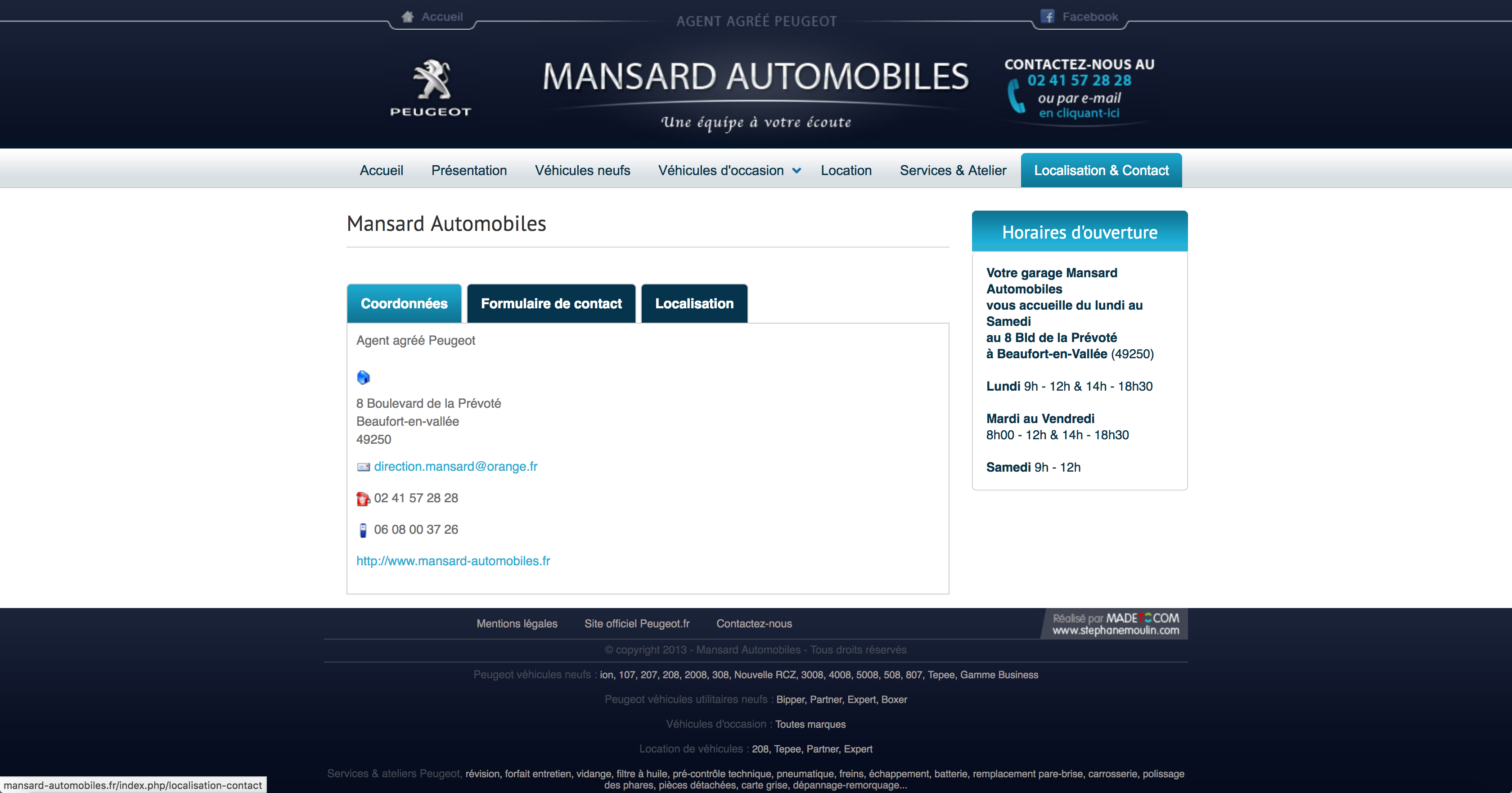 Page contact peugeot Mansard Automobiles