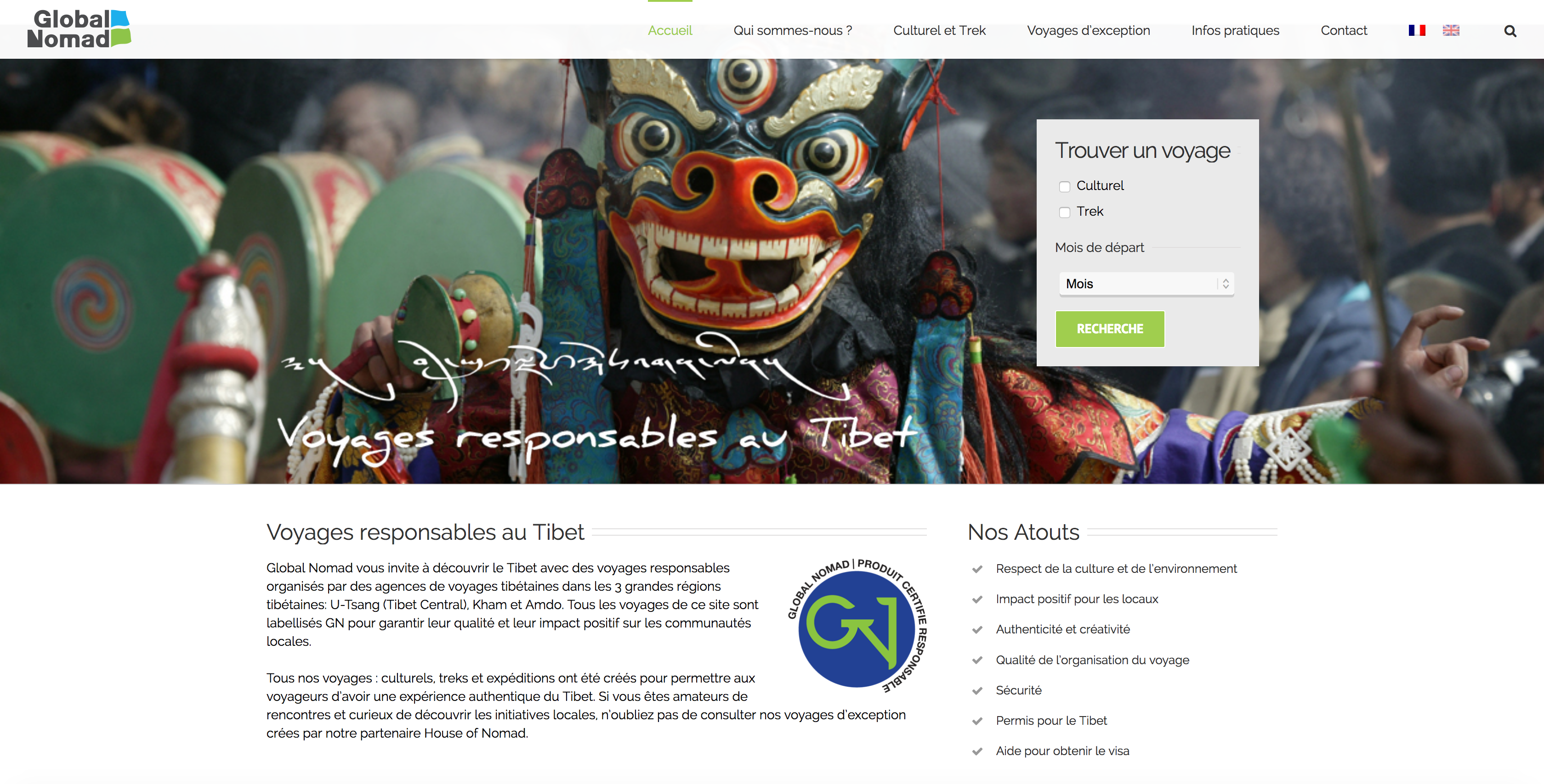 Page d'accueil Global Nomad Tibet