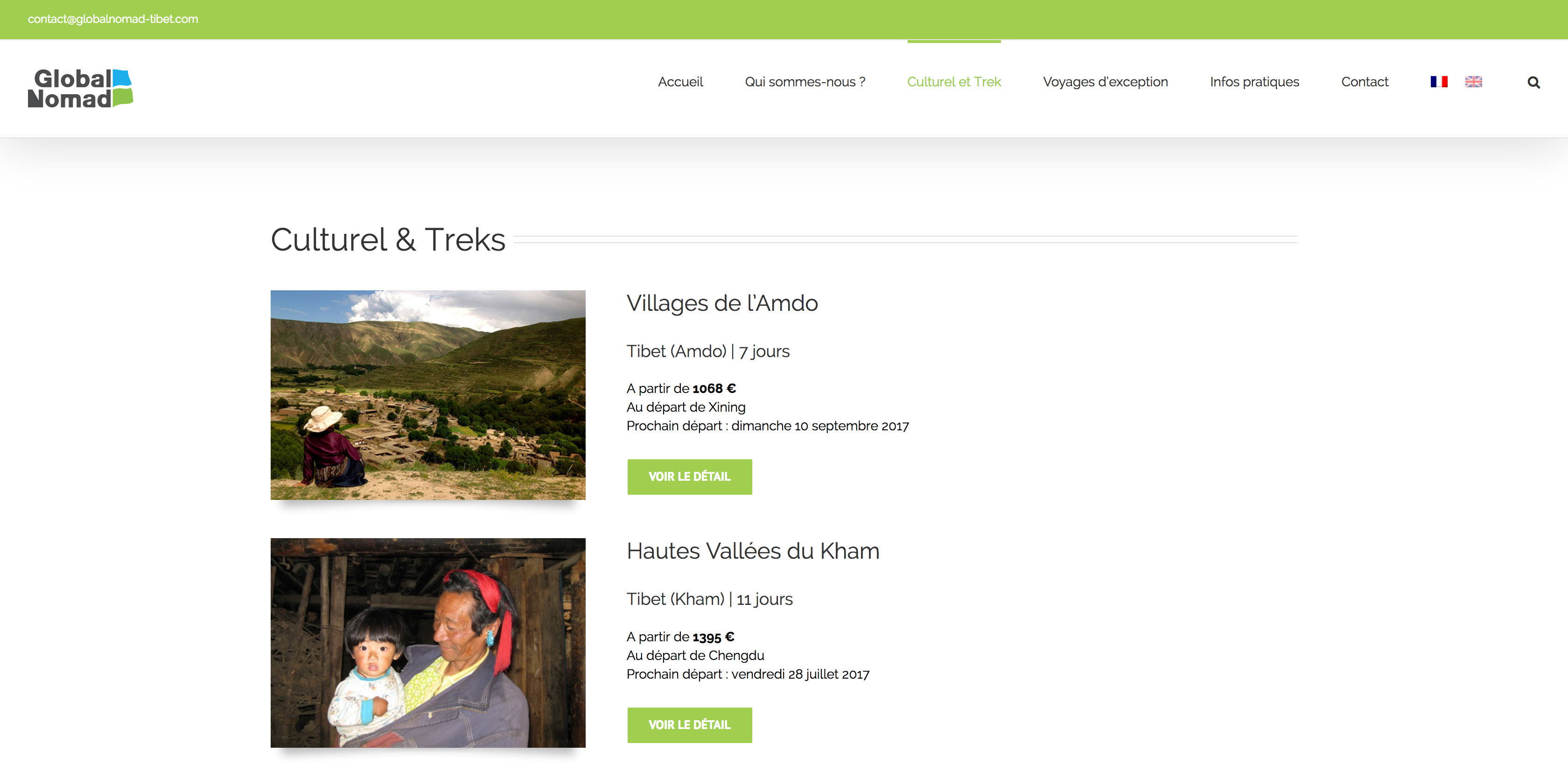 Page liste voyages Global Nomad Tibet