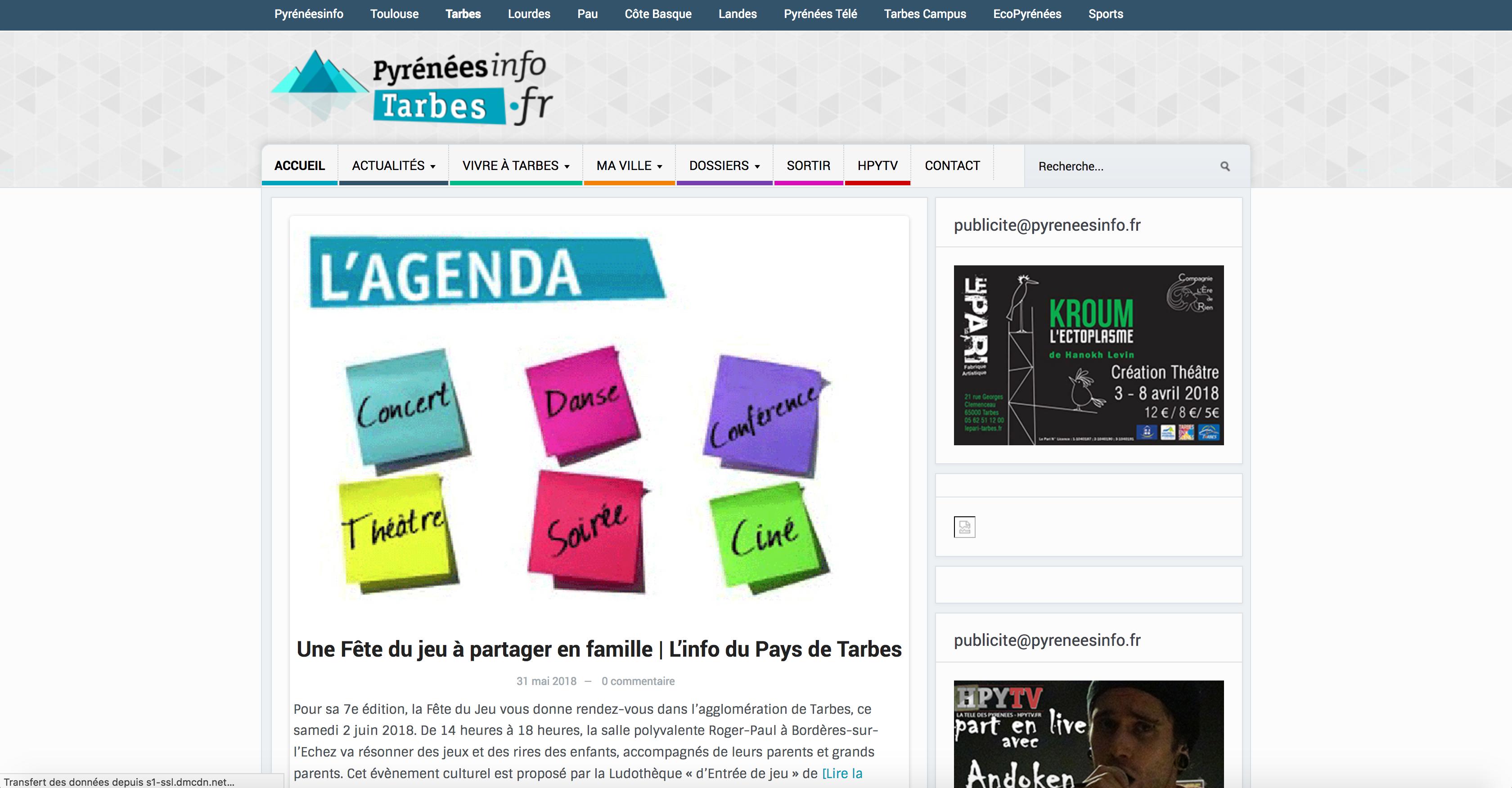 Page d'accueil Pyrénées Info Tarbes